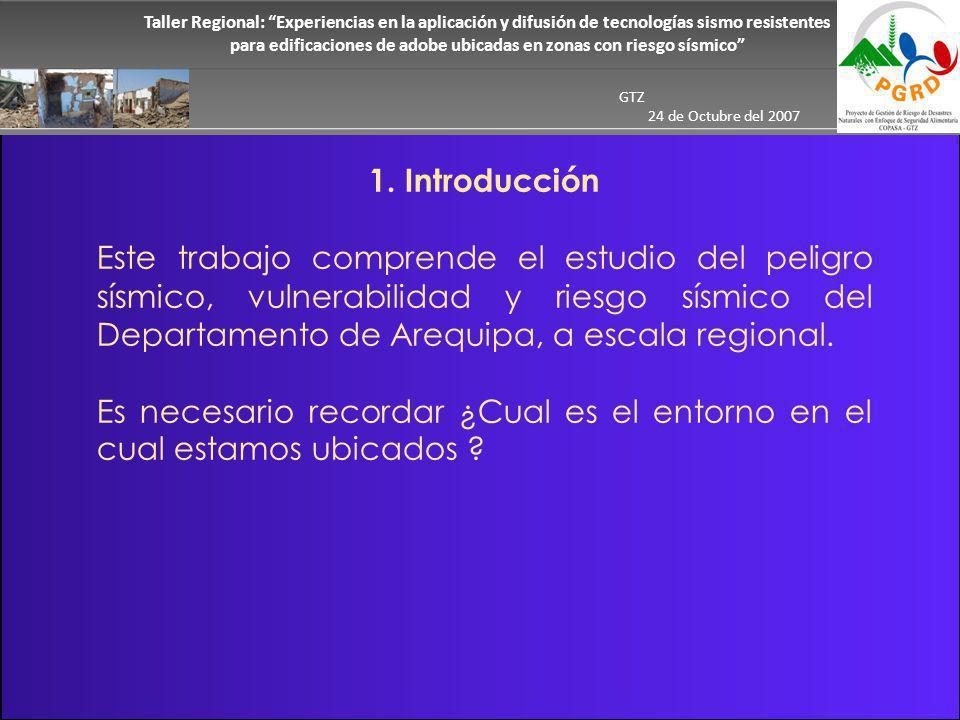 Taller Regional: Experiencias en la aplicación y difusión de tecnologías sismo resistentes para edificaciones de adobe ubicadas en zonas con riesgo sísmico GTZ 24 de Octubre del 2007 Tectónica de placas