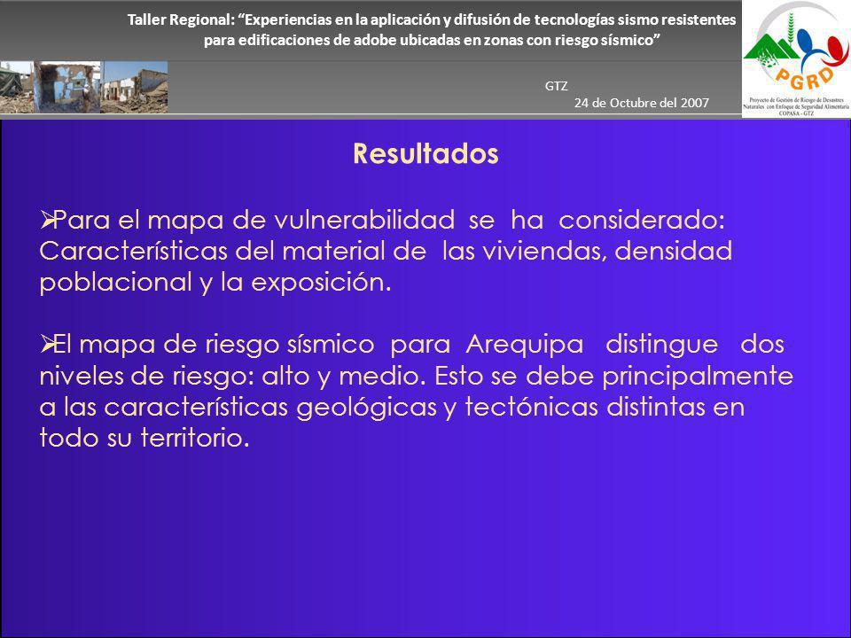 Taller Regional: Experiencias en la aplicación y difusión de tecnologías sismo resistentes para edificaciones de adobe ubicadas en zonas con riesgo sísmico GTZ 24 de Octubre del 2007 Para el mapa de vulnerabilidad se ha considerado: Características del material de las viviendas, densidad poblacional y la exposición.