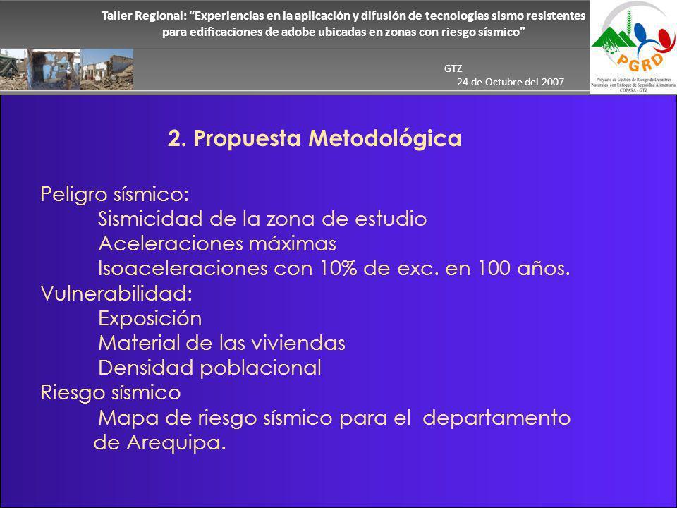 Taller Regional: Experiencias en la aplicación y difusión de tecnologías sismo resistentes para edificaciones de adobe ubicadas en zonas con riesgo sísmico GTZ 24 de Octubre del 2007 2.