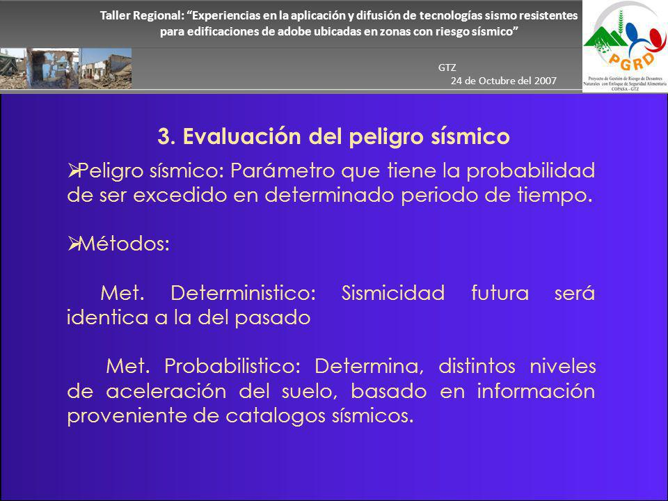 Taller Regional: Experiencias en la aplicación y difusión de tecnologías sismo resistentes para edificaciones de adobe ubicadas en zonas con riesgo sísmico GTZ 24 de Octubre del 2007 Resultados En el mapa de peligro sísmico se ha delimitado tres niveles de peligrosidad sísmica.
