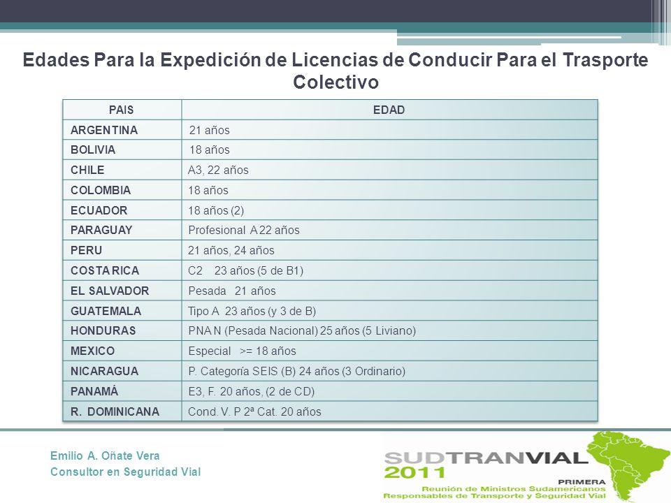 Edades Para la Expedición de Licencias de Conducir Para el Trasporte Colectivo Emilio A.