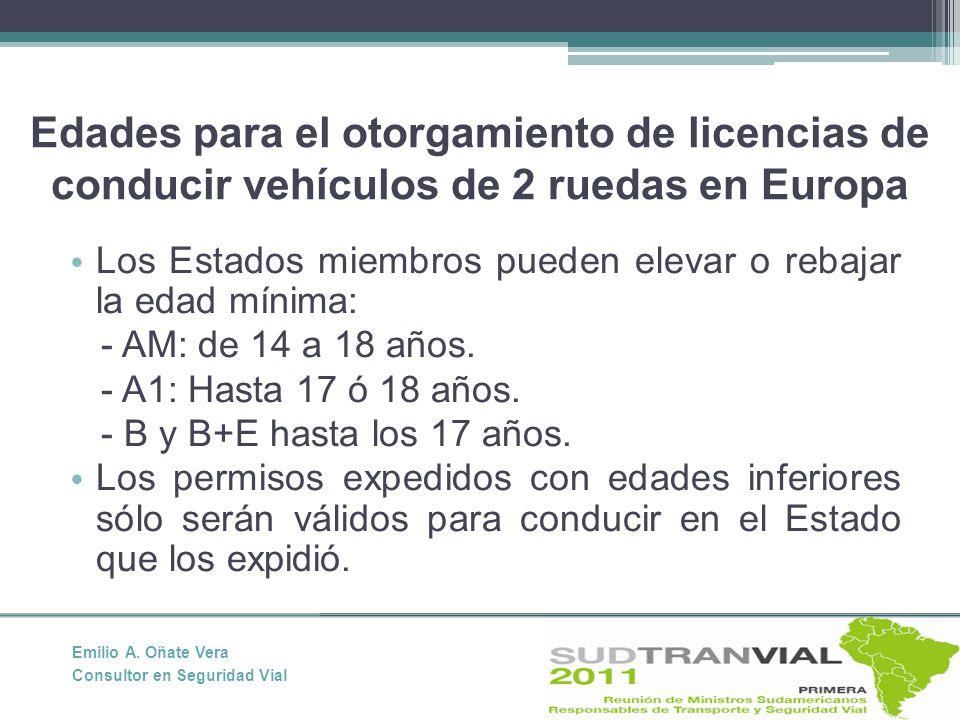 Edades para el otorgamiento de licencias de conducir vehículos de 2 ruedas en Europa Los Estados miembros pueden elevar o rebajar la edad mínima: - AM: de 14 a 18 años.