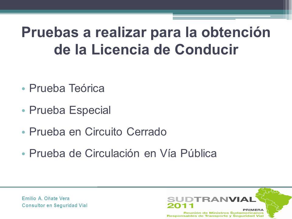 Pruebas a realizar para la obtención de la Licencia de Conducir Prueba Teórica Prueba Especial Prueba en Circuito Cerrado Prueba de Circulación en Vía Pública Emilio A.