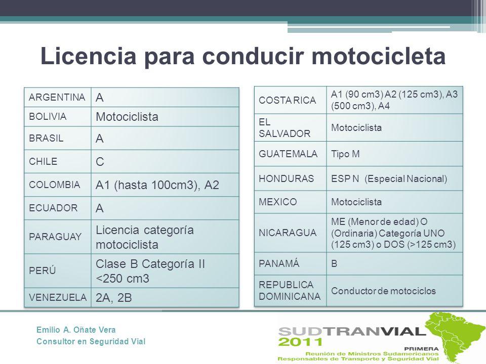 Licencia para conducir motocicleta Emilio A. Oñate Vera Consultor en Seguridad Vial