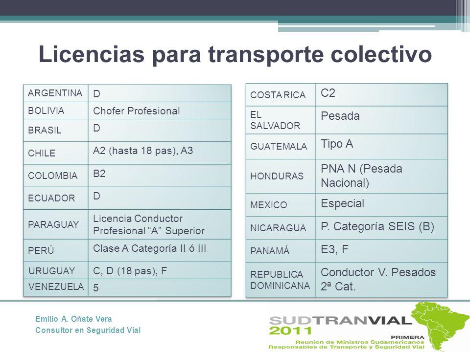 Licencias para transporte colectivo Emilio A. Oñate Vera Consultor en Seguridad Vial