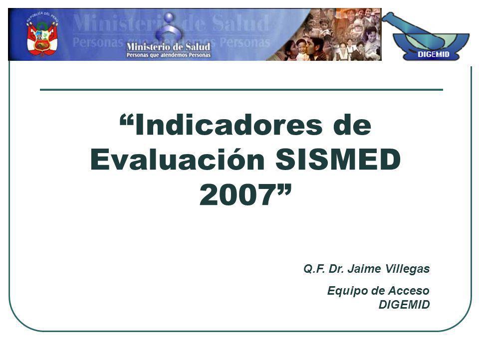 Indicadores de Evaluación SISMED 2007 Q.F. Dr. Jaime Villegas Equipo de Acceso DIGEMID