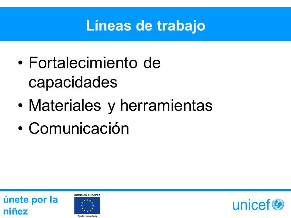 Líneas de trabajo Fortalecimiento de capacidades Materiales y herramientas Comunicación únete por la niñez