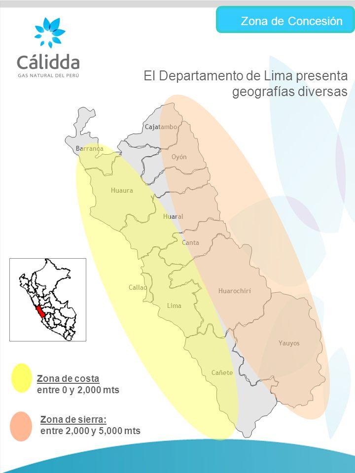 10 El Departamento de Lima presenta geografías diversas Barranca Cajatambo Huaura Huaral Oyón Canta Huarochirí Cañete Yauyos Callao Lima Zona de Concesión Zona de costa entre 0 y 2,000 mts Zona de sierra: entre 2,000 y 5,000 mts
