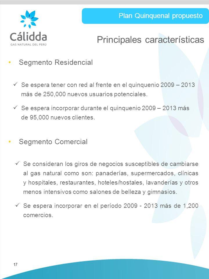 17 Principales características Segmento Residencial Plan Quinquenal propuesto Se espera tener con red al frente en el quinquenio 2009 – 2013 más de 250,000 nuevos usuarios potenciales.
