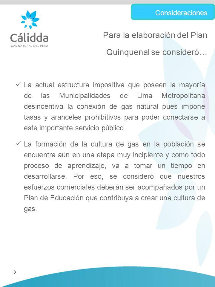 8 La actual estructura impositiva que poseen la mayoría de las Municipalidades de Lima Metropolitana desincentiva la conexión de gas natural pues impone tasas y aranceles prohibitivos para poder conectarse a este importante servicio público.