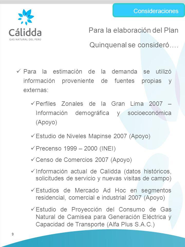 9 Para la estimación de la demanda se utilizó información proveniente de fuentes propias y externas: Perfiles Zonales de la Gran Lima 2007 – Información demográfica y socioeconómica (Apoyo) Estudio de Niveles Mapinse 2007 (Apoyo) Precenso 1999 – 2000 (INEI) Censo de Comercios 2007 (Apoyo) Información actual de Calidda (datos históricos, solicitudes de servicio y nuevas visitas de campo) Estudios de Mercado Ad Hoc en segmentos residencial, comercial e industrial 2007 (Apoyo) Estudio de Proyección del Consumo de Gas Natural de Camisea para Generación Eléctrica y Capacidad de Transporte (Alfa Plus S.A.C.) Consideraciones Para la elaboración del Plan Quinquenal se consideró….