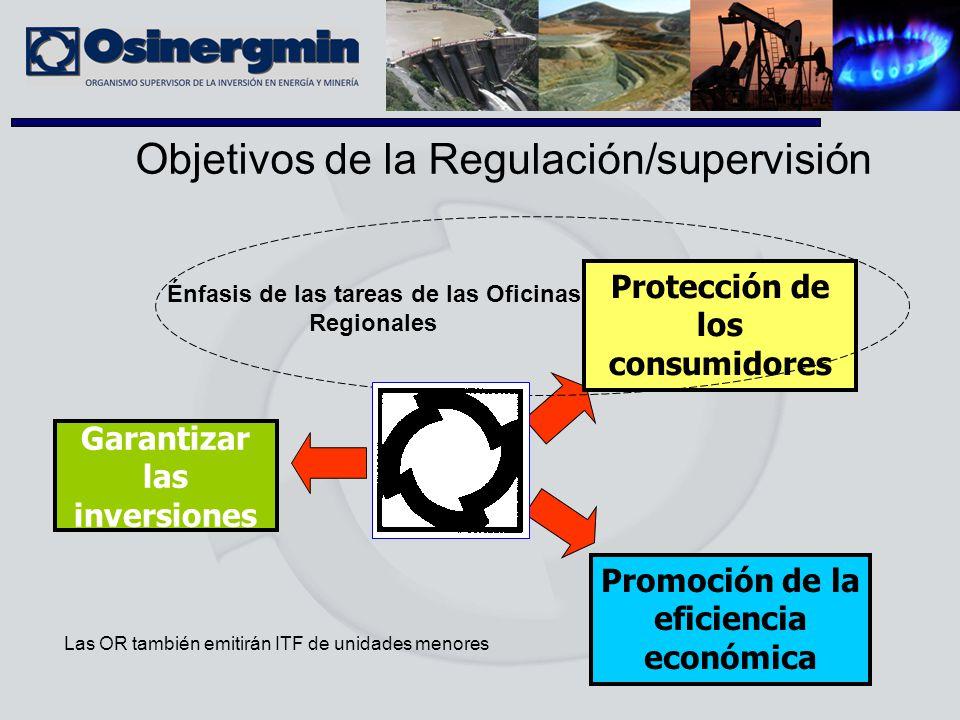 Objetivos de la Regulación/supervisión Garantizar las inversiones Protección de los consumidores Promoción de la eficiencia económica Énfasis de las t