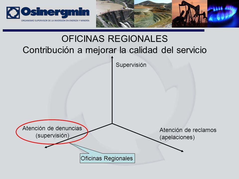 OFICINAS REGIONALES Contribución a mejorar la calidad del servicio Supervisión Atención de reclamos (apelaciones) Atención de denuncias (supervisión)