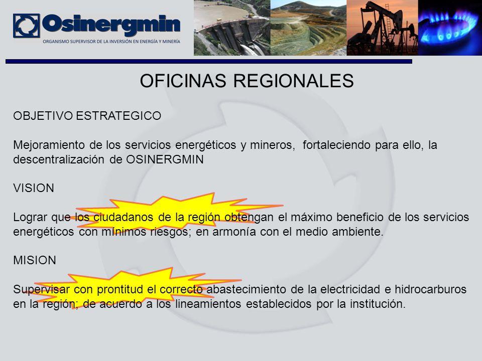 OFICINAS REGIONALES OBJETIVO ESTRATEGICO Mejoramiento de los servicios energéticos y mineros, fortaleciendo para ello, la descentralización de OSINERG