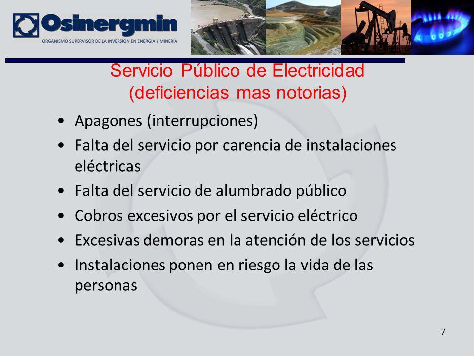 7 Apagones (interrupciones) Falta del servicio por carencia de instalaciones eléctricas Falta del servicio de alumbrado público Cobros excesivos por e
