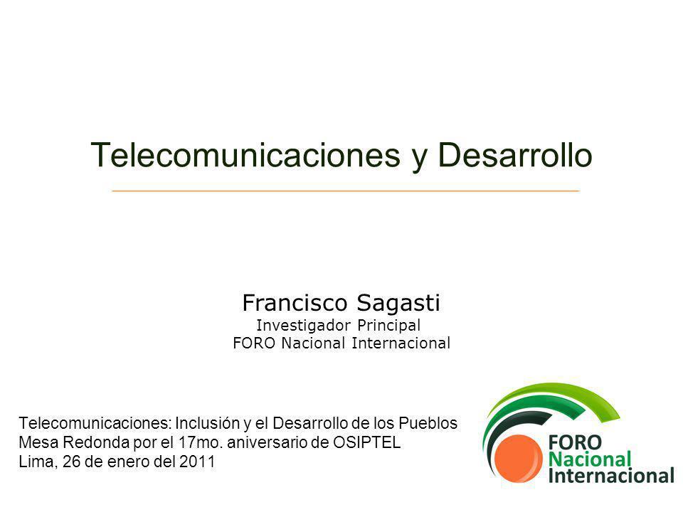 Telecomunicaciones y Desarrollo De la Sociedad Industrial a la Sociedad de la Información Surgimiento del Orden Global Fracturado y el ámbito de lo global Oportunidades y riesgos de la sociedad de la información Situación de América Latina Comentarios sobre el Perú