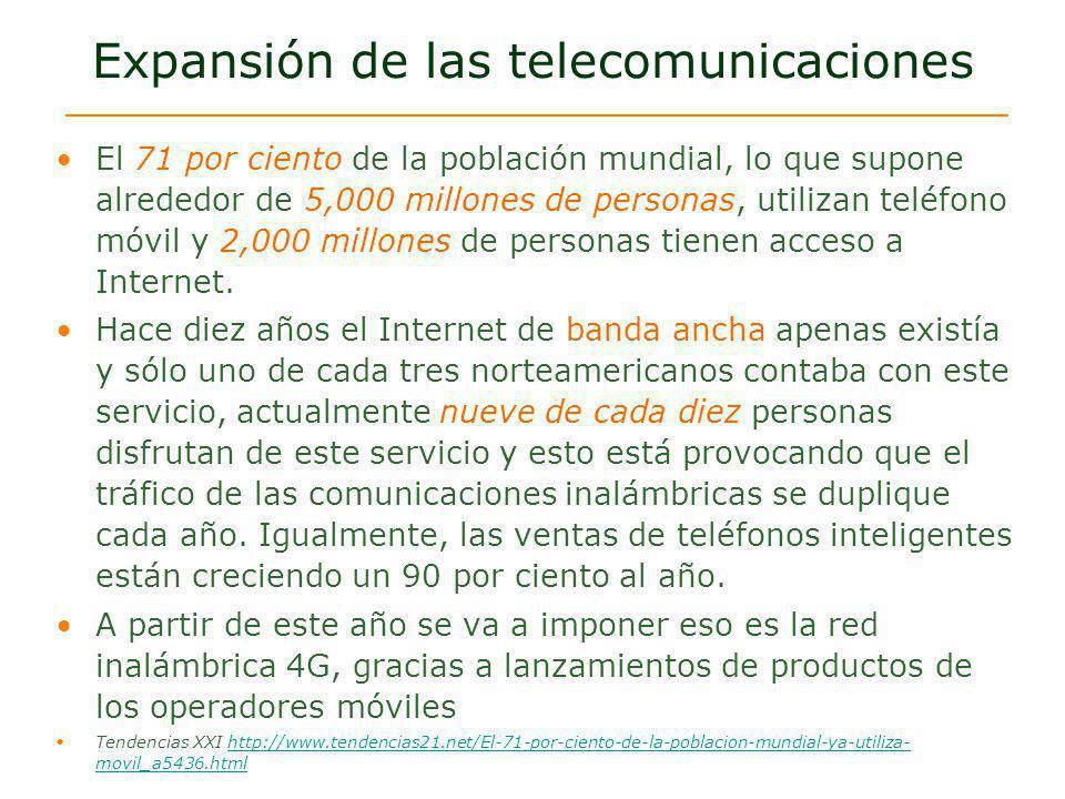 Expansión de las telecomunicaciones El 71 por ciento de la población mundial, lo que supone alrededor de 5,000 millones de personas, utilizan teléfono