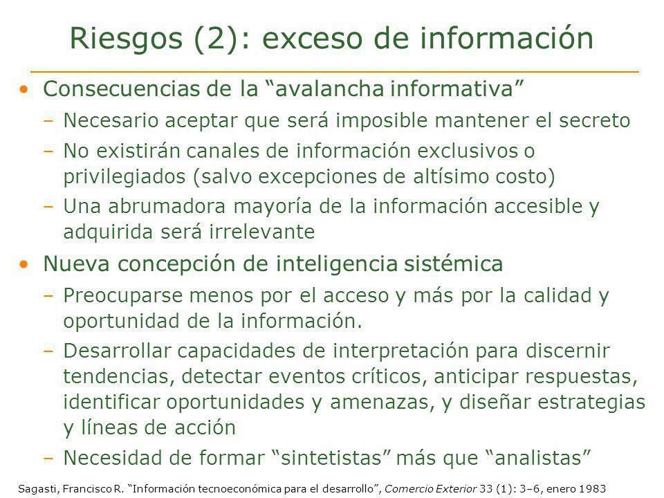 Riesgos (2): exceso de información Consecuencias de la avalancha informativa –Necesario aceptar que será imposible mantener el secreto –No existirán c