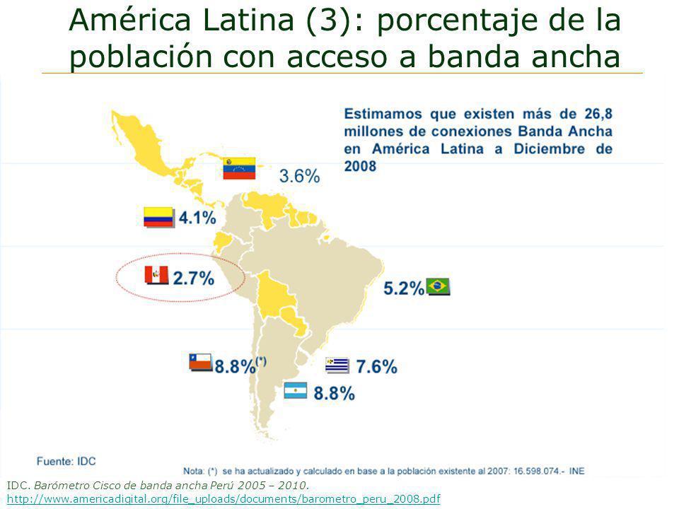 América Latina (3): porcentaje de la población con acceso a banda ancha IDC. Barómetro Cisco de banda ancha Perú 2005 – 2010. http://www.americadigita
