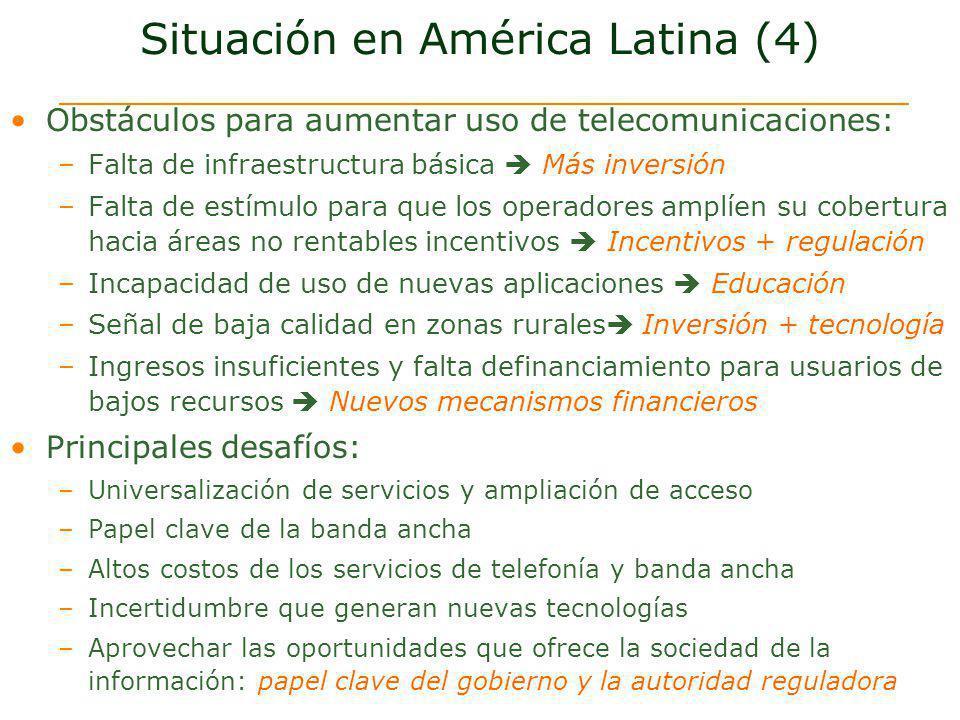 Situación en América Latina (4) Obstáculos para aumentar uso de telecomunicaciones: –Falta de infraestructura básica Más inversión –Falta de estímulo
