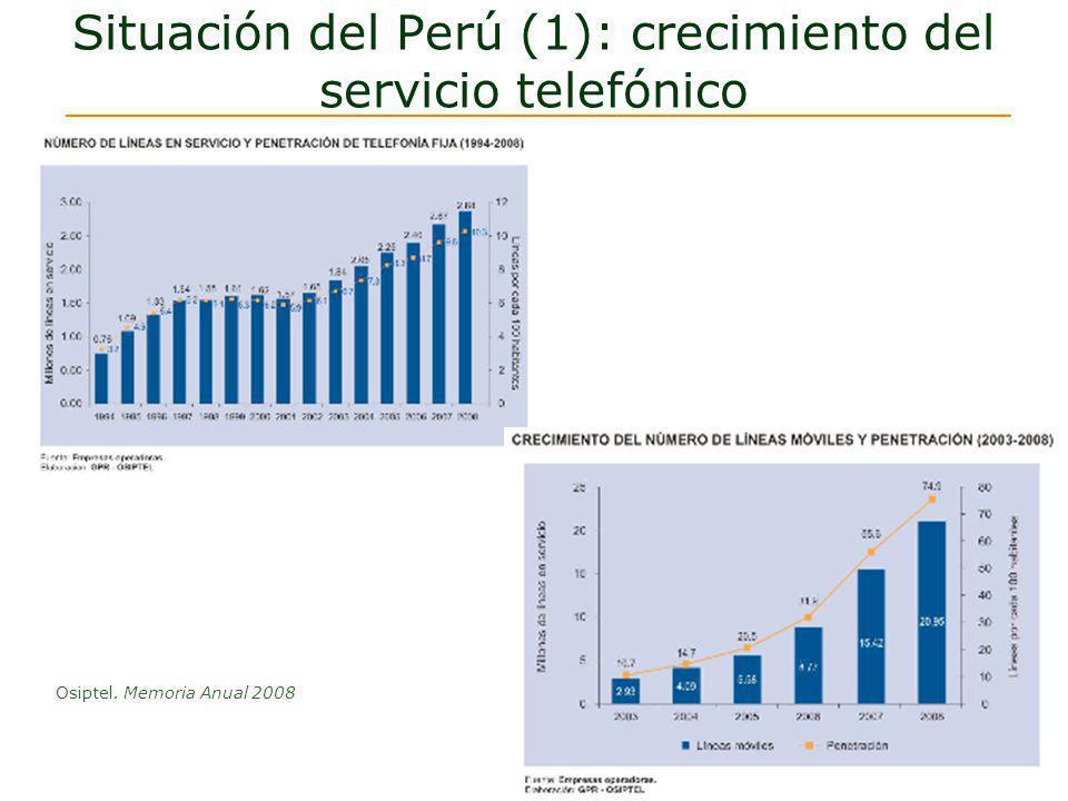 Perú (2) :Telefonía en áreas rurales Distritos con cobertura móvilDiciembre de 2005 433 Setiembre de 20091497 A setiembre del 2009 más del 81% de los distritos tenía cobertura de alguna red telefónica Raúl Pérez-Reyes Espejo Comentarios al Proyecto de Diferenciación de Cargos de Interconexión con Redes Rurales.