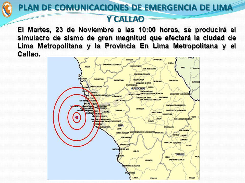 El Martes, 23 de Noviembre a las 10:00 horas, se producirá el simulacro de sismo de gran magnitud que afectará la ciudad de Lima Metropolitana y la Provincia En Lima Metropolitana y el Callao.