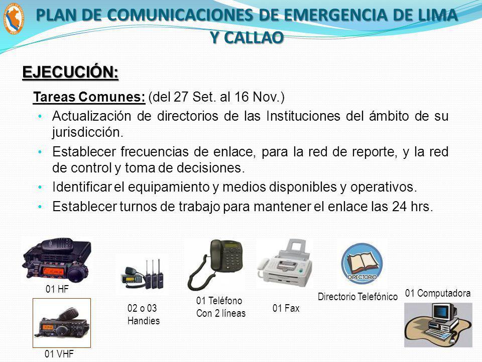 Tareas Comunes: (del 27 Set. al 16 Nov.) Actualización de directorios de las Instituciones del ámbito de su jurisdicción. Establecer frecuencias de en