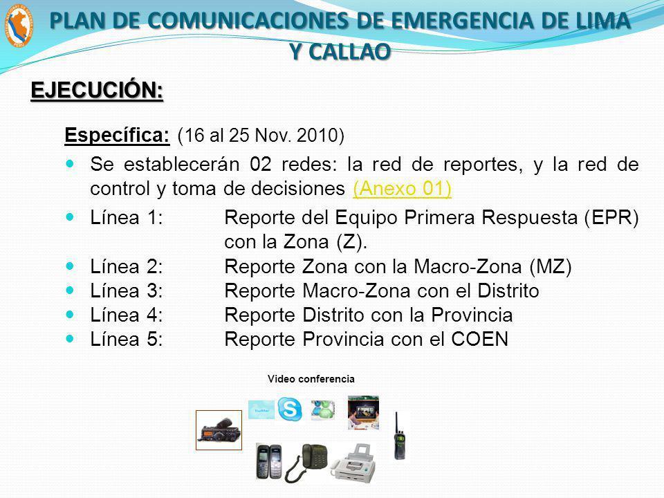 Específica: ( 16 al 25 Nov. 2010) Se establecerán 02 redes: la red de reportes, y la red de control y toma de decisiones (Anexo 01)(Anexo 01) Línea 1: