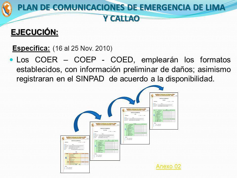 Los COER – COEP - COED, emplearán los formatos establecidos, con información preliminar de daños; asimismo registraran en el SINPAD de acuerdo a la di