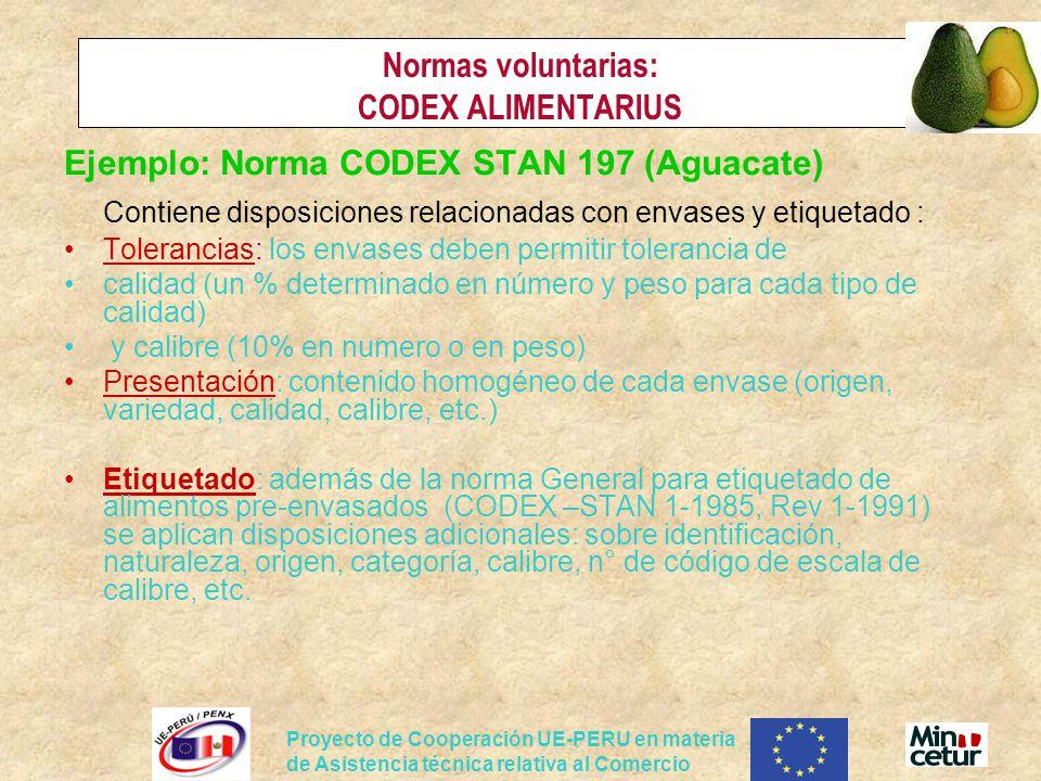 Proyecto de Cooperación UE-PERU en materia de Asistencia técnica relativa al Comercio Normas voluntarias: CODEX ALIMENTARIUS Ejemplo: Norma CODEX STAN