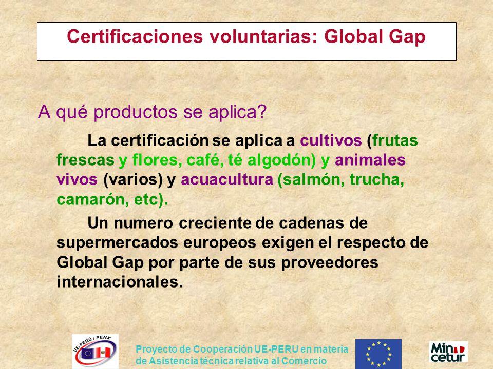 Proyecto de Cooperación UE-PERU en materia de Asistencia técnica relativa al Comercio Certificaciones voluntarias: Global Gap A qué productos se aplic