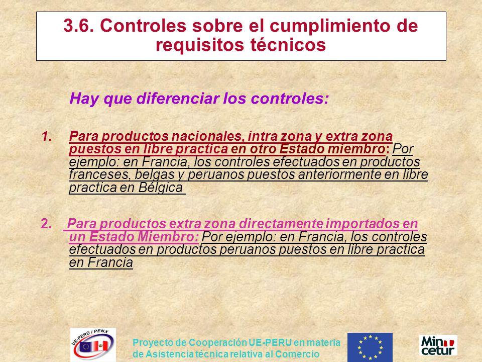 Proyecto de Cooperación UE-PERU en materia de Asistencia técnica relativa al Comercio 3.6. Controles sobre el cumplimiento de requisitos técnicos Hay