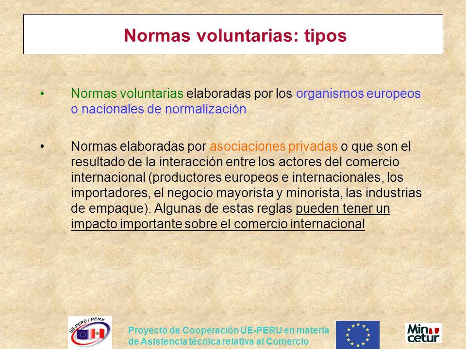 Proyecto de Cooperación UE-PERU en materia de Asistencia técnica relativa al Comercio Normas voluntarias: tipos Normas voluntarias elaboradas por los