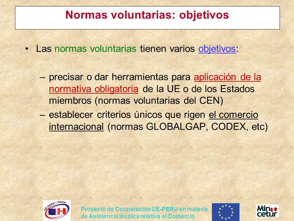 Proyecto de Cooperación UE-PERU en materia de Asistencia técnica relativa al Comercio Normas voluntarias: objetivos Las normas voluntarias tienen vari