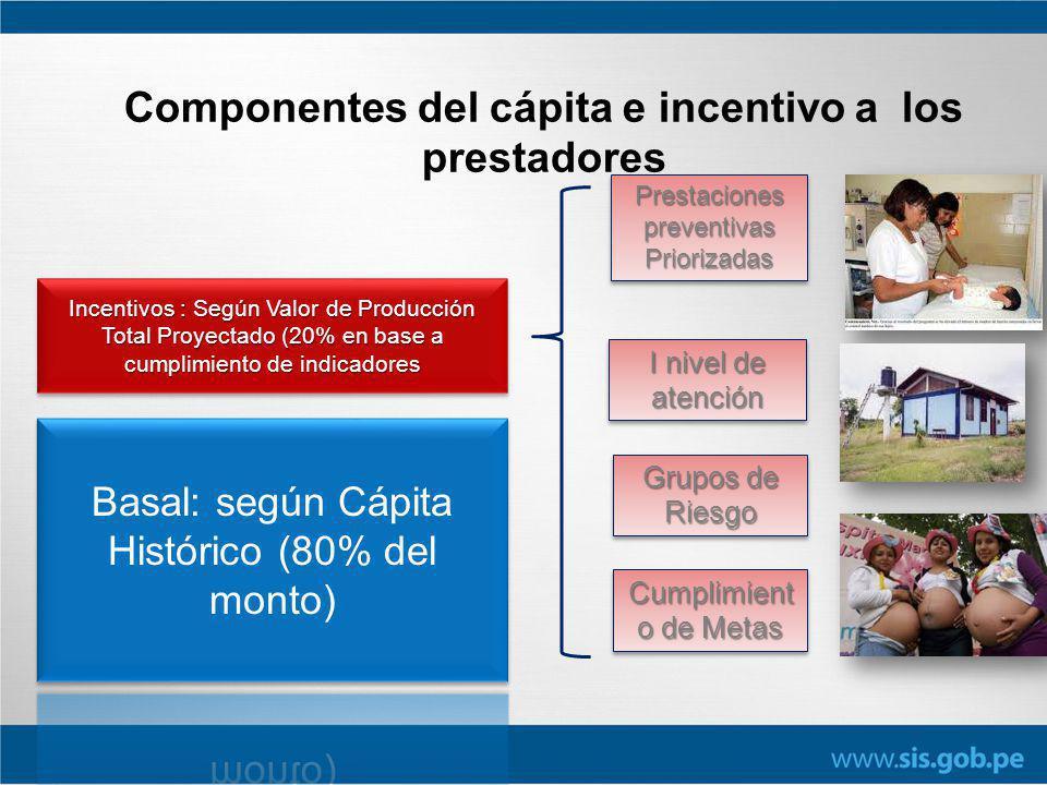Componentes del cápita e incentivo a los prestadores Incentivos : Según Valor de Producción Total Proyectado (20% en base a cumplimiento de indicadore