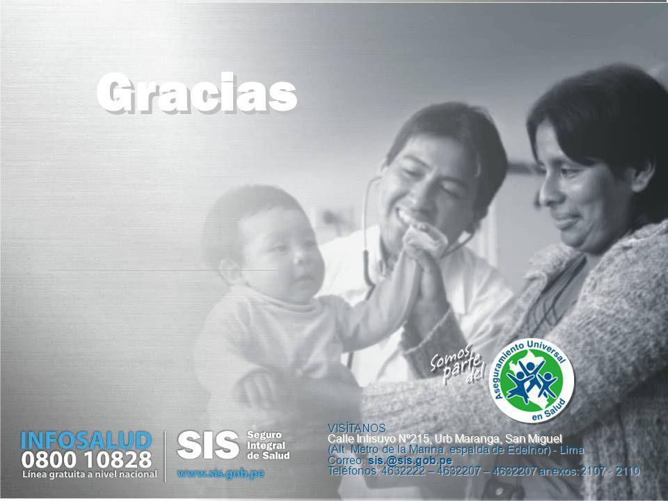 VISÍTANOS Calle Intisuyo Nº215, Urb Maranga, San Miguel (Alt. Metro de la Marina, espalda de Edelnor) - Lima Correo: sis.@sis.gob.pe Teléfonos: 463222