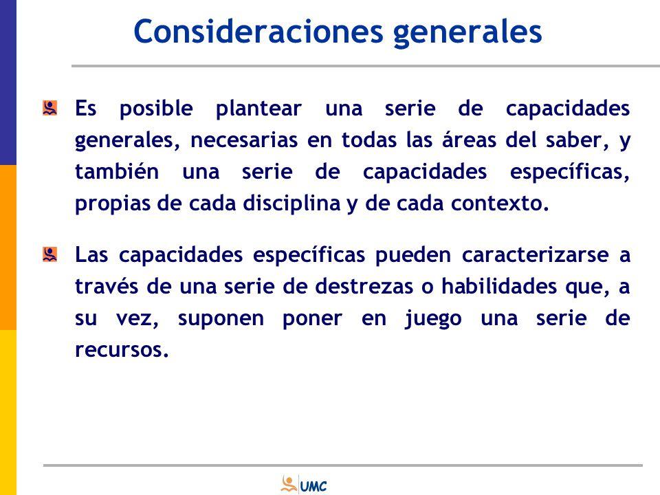 Selección de Capacidades Es necesario determinar qué capacidades generales y específicas se evaluarán, qué habilidades y qué recursos exigen poner en juego y en qué medida.