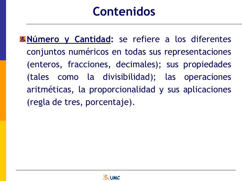 Contenidos Algebra y funciones: El álgebra implica descubrir leyes o patrones que rigen la relación entre diversas variables, independientemente de los valores involucrados.