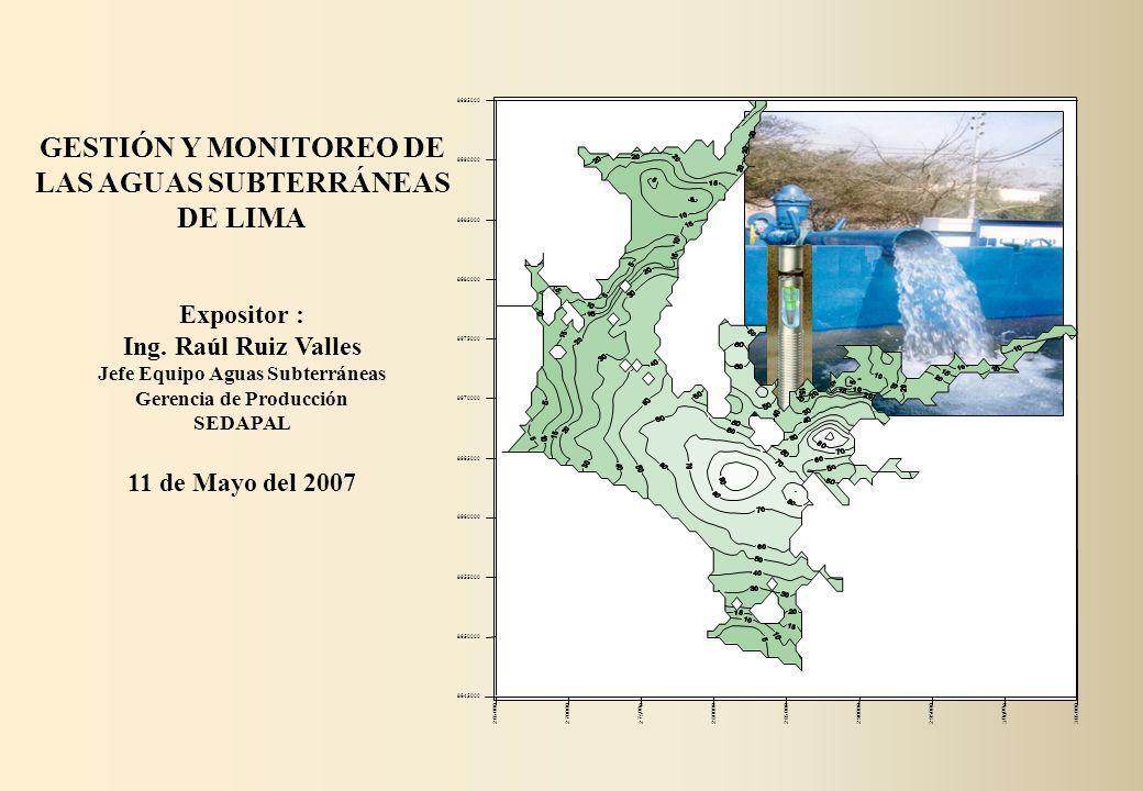 Pozos Sedapal 8.32 m 3 /s Galerías sedapal 0.12 m 3 /s Pozos Terceros (Fuentes propias, Industriales, Comercial, Etc.) 3.94 m 3 /s ___________ TOTAL 12.38 m 3 /s Extracción total incluyendo pozos particulares al año 1997 ESTADO DEL ACUIFERO DE LIMA AL AÑO 1997 Extracción de las Aguas Subterráneas con pozos de SEDAPAL y Variación del Nivel de la Napa en el Pozo P-156 Zárate 3