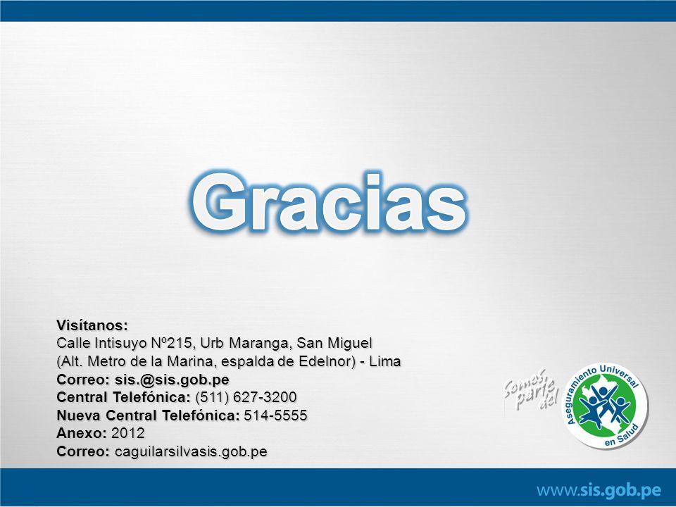 Visítanos: Calle Intisuyo Nº215, Urb Maranga, San Miguel (Alt. Metro de la Marina, espalda de Edelnor) - Lima Correo: sis.@sis.gob.pe Central Telefóni