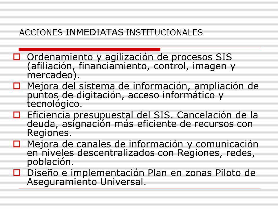ACCIONES INMEDIATAS INSTITUCIONALES Ordenamiento y agilización de procesos SIS (afiliación, financiamiento, control, imagen y mercadeo). Mejora del si