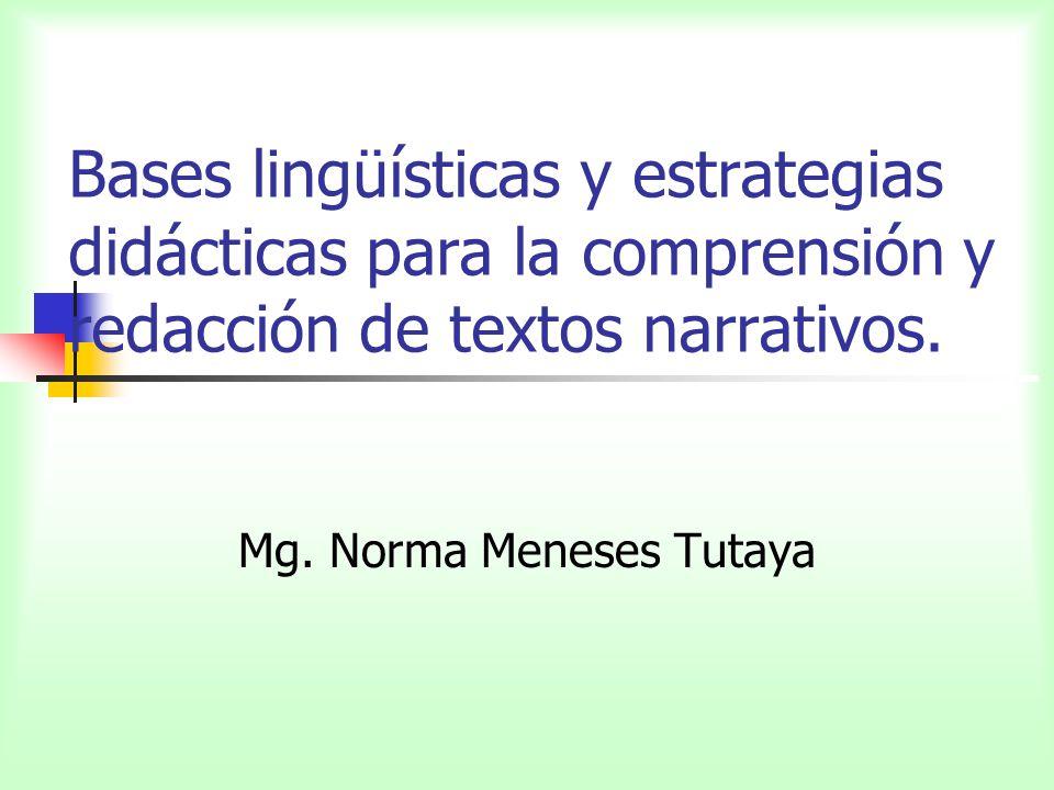 Bases lingüísticas y estrategias didácticas para la comprensión y redacción de textos narrativos. Mg. Norma Meneses Tutaya