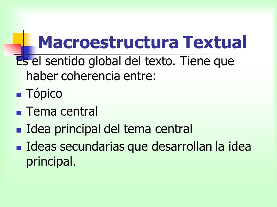 Macroestructura Textual Es el sentido global del texto. Tiene que haber coherencia entre: Tópico Tema central Idea principal del tema central Ideas se