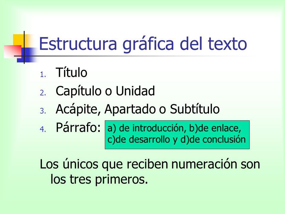 Estructura gráfica del texto 1. Título 2. Capítulo o Unidad 3. Acápite, Apartado o Subtítulo 4. Párrafo: Los únicos que reciben numeración son los tre