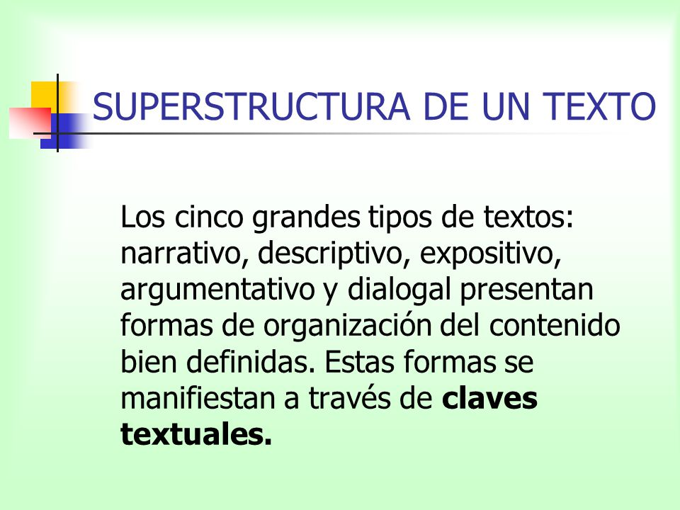 SUPERSTRUCTURA DE UN TEXTO Los cinco grandes tipos de textos: narrativo, descriptivo, expositivo, argumentativo y dialogal presentan formas de organiz
