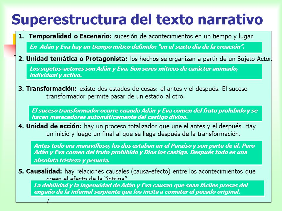 Superestructura del texto narrativo 1.Temporalidad o Escenario: sucesión de acontecimientos en un tiempo y lugar. 2. Unidad temática o Protagonista: l