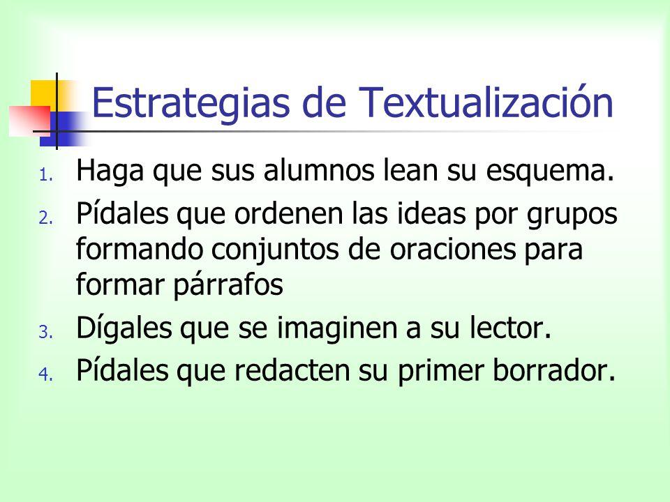 Estrategias de Textualización 1. Haga que sus alumnos lean su esquema. 2. Pídales que ordenen las ideas por grupos formando conjuntos de oraciones par