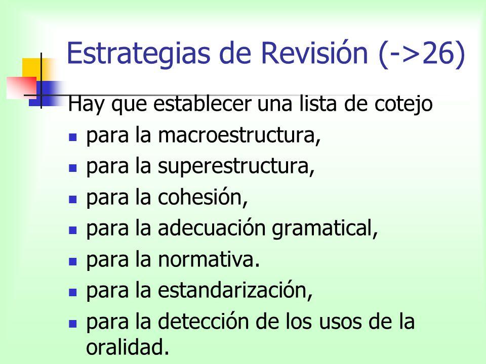Estrategias de Revisión (->26) Hay que establecer una lista de cotejo para la macroestructura, para la superestructura, para la cohesión, para la adec