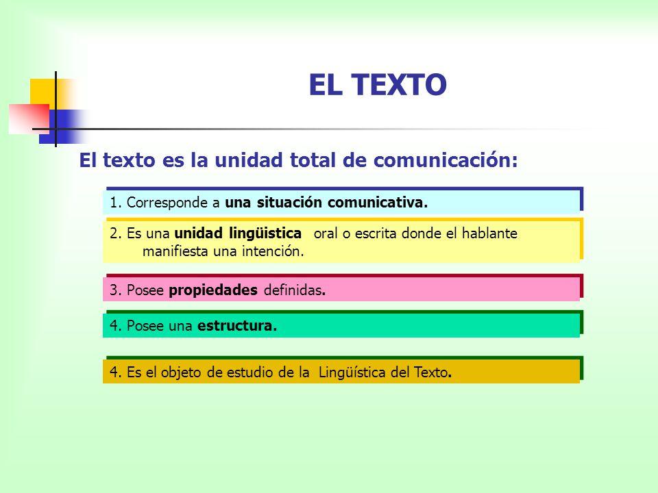 EL TEXTO El texto es la unidad total de comunicación: 1. Corresponde a una situación comunicativa. 2. Es una unidad lingüistica oral o escrita donde e