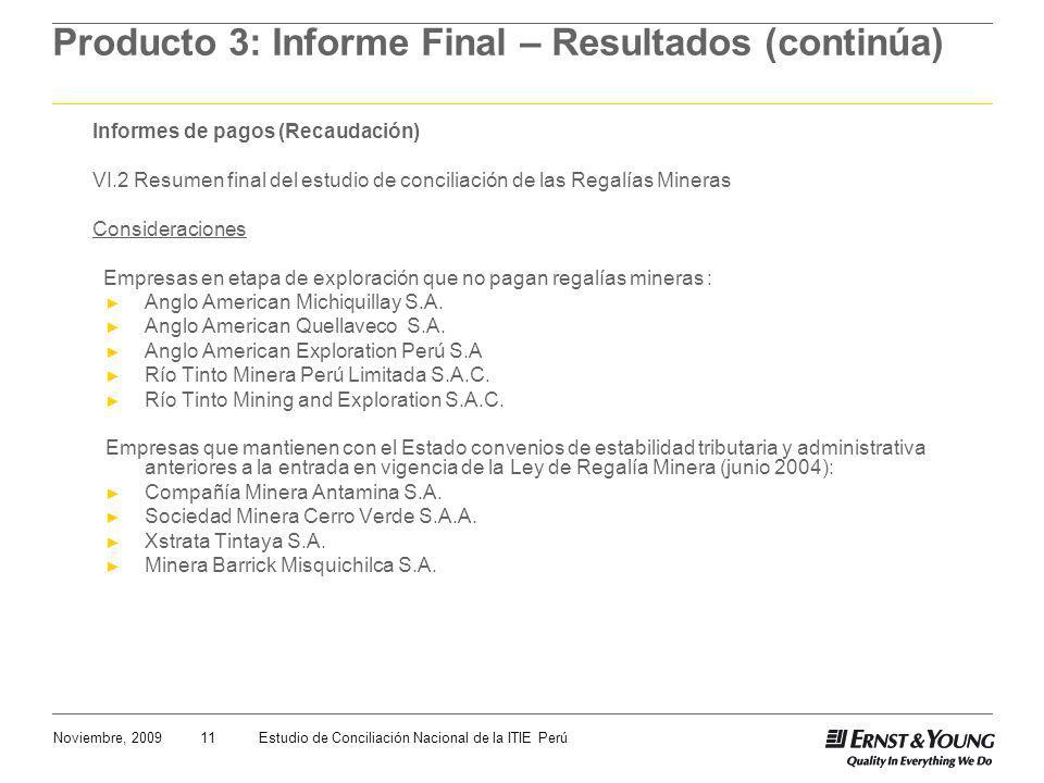 11Noviembre, 2009Estudio de Conciliación Nacional de la ITIE Perú Producto 3: Informe Final – Resultados (continúa) Informes de pagos (Recaudación) VI